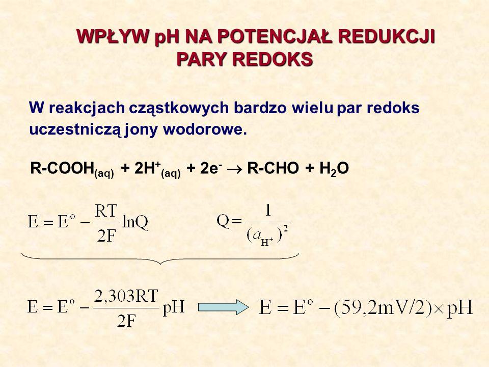 WPŁYW pH NA POTENCJAŁ REDUKCJI PARY REDOKS PARY REDOKS W reakcjach cząstkowych bardzo wielu par redoks uczestniczą jony wodorowe. R-COOH (aq) + 2H + (