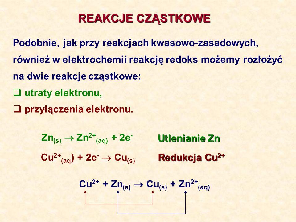 REAKCJE CZĄSTKOWE Podobnie, jak przy reakcjach kwasowo-zasadowych, również w elektrochemii reakcję redoks możemy rozłożyć na dwie reakcje cząstkowe: u