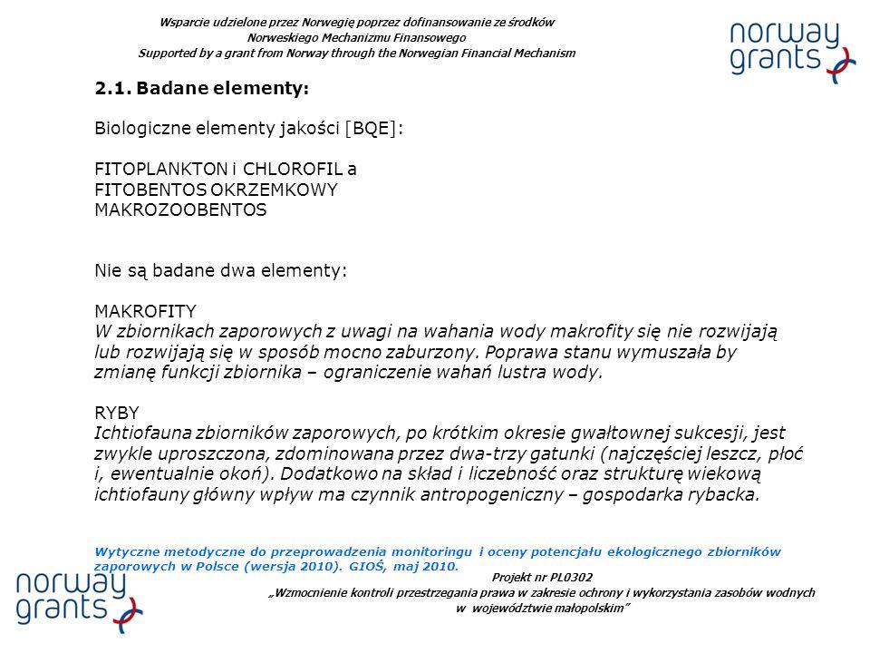 Projekt nr PL0302 Wzmocnienie kontroli przestrzegania prawa w zakresie ochrony i wykorzystania zasobów wodnych w województwie małopolskim Wsparcie udzielone przez Norwegię poprzez dofinansowanie ze środków Norweskiego Mechanizmu Finansowego Supported by a grant from Norway through the Norwegian Financial Mechanism 2.1.