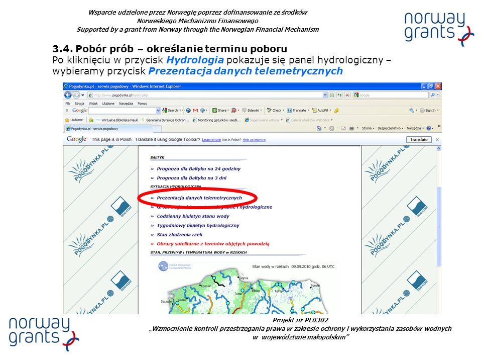 Projekt nr PL0302 Wzmocnienie kontroli przestrzegania prawa w zakresie ochrony i wykorzystania zasobów wodnych w województwie małopolskim Wsparcie udzielone przez Norwegię poprzez dofinansowanie ze środków Norweskiego Mechanizmu Finansowego Supported by a grant from Norway through the Norwegian Financial Mechanism 3.4.