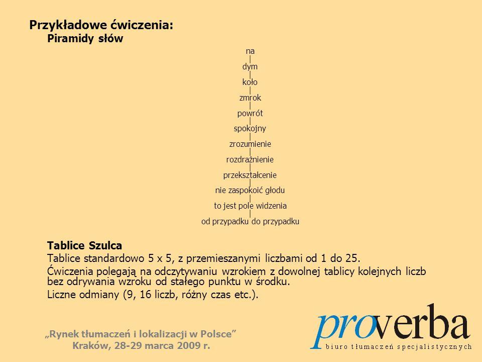 Przykładowe ćwiczenia: Piramidy słów na | dym | koło | zmrok | powrót | spokojny | zrozumienie | rozdrażnienie | przekształcenie | nie zaspokoić głodu