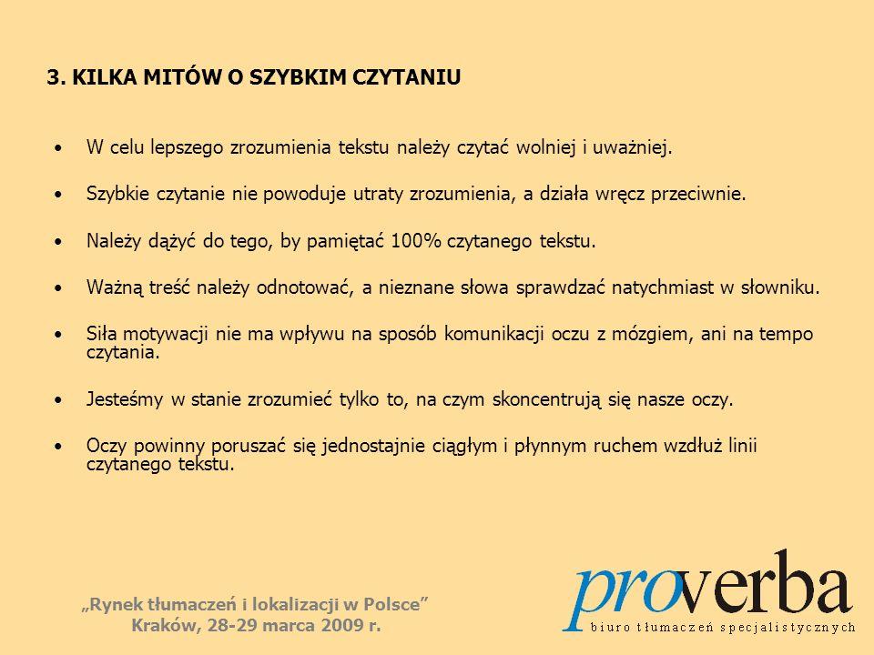 3. KILKA MITÓW O SZYBKIM CZYTANIU W celu lepszego zrozumienia tekstu należy czytać wolniej i uważniej. Szybkie czytanie nie powoduje utraty zrozumieni