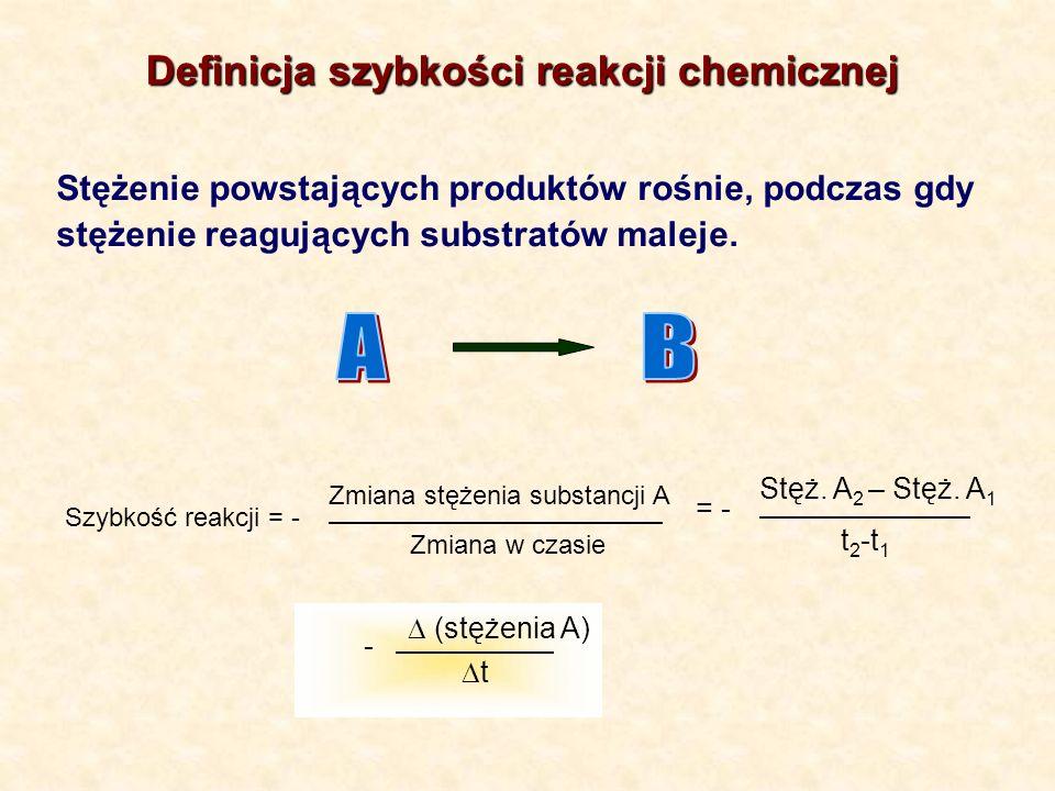 Stężenie powstających produktów rośnie, podczas gdy stężenie reagujących substratów maleje. Szybkość reakcji = - Zmiana stężenia substancji A Zmiana w
