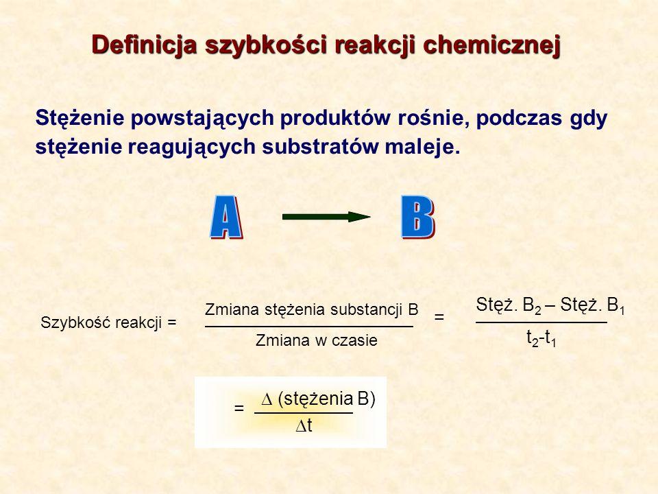 Stężenie powstających produktów rośnie, podczas gdy stężenie reagujących substratów maleje. Szybkość reakcji = Zmiana stężenia substancji B Zmiana w c
