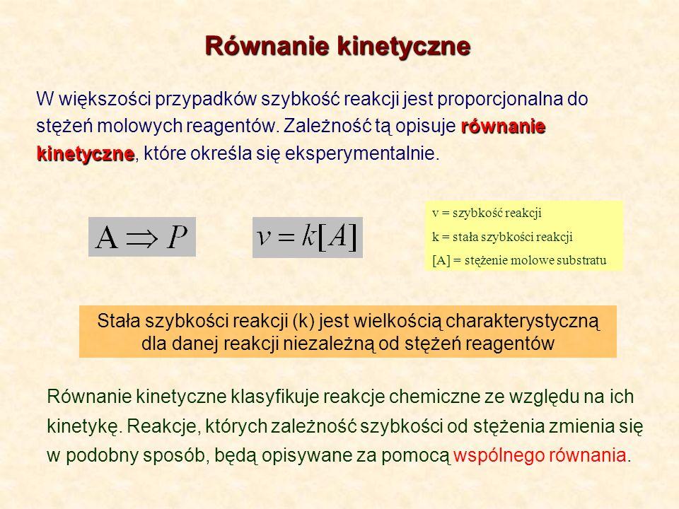równanie kinetyczne W większości przypadków szybkość reakcji jest proporcjonalna do stężeń molowych reagentów. Zależność tą opisuje równanie kinetyczn