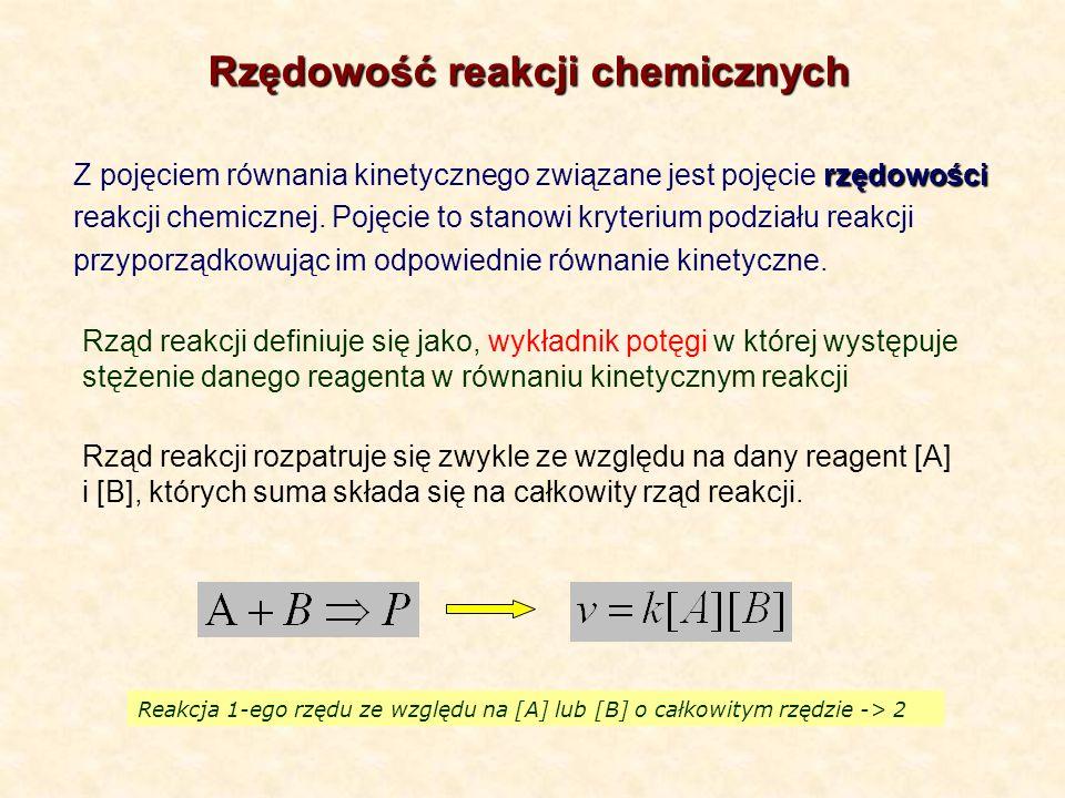 rzędowości Z pojęciem równania kinetycznego związane jest pojęcie rzędowości reakcji chemicznej. Pojęcie to stanowi kryterium podziału reakcji przypor