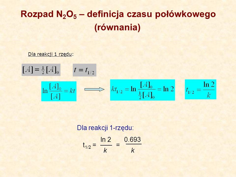 t 1/2 = Dla reakcji 1-rzędu: ln 2 k 0.693 k = Rozpad N 2 O 5 – definicja czasu połówkowego (równania) Dla reakcji 1 rzędu: