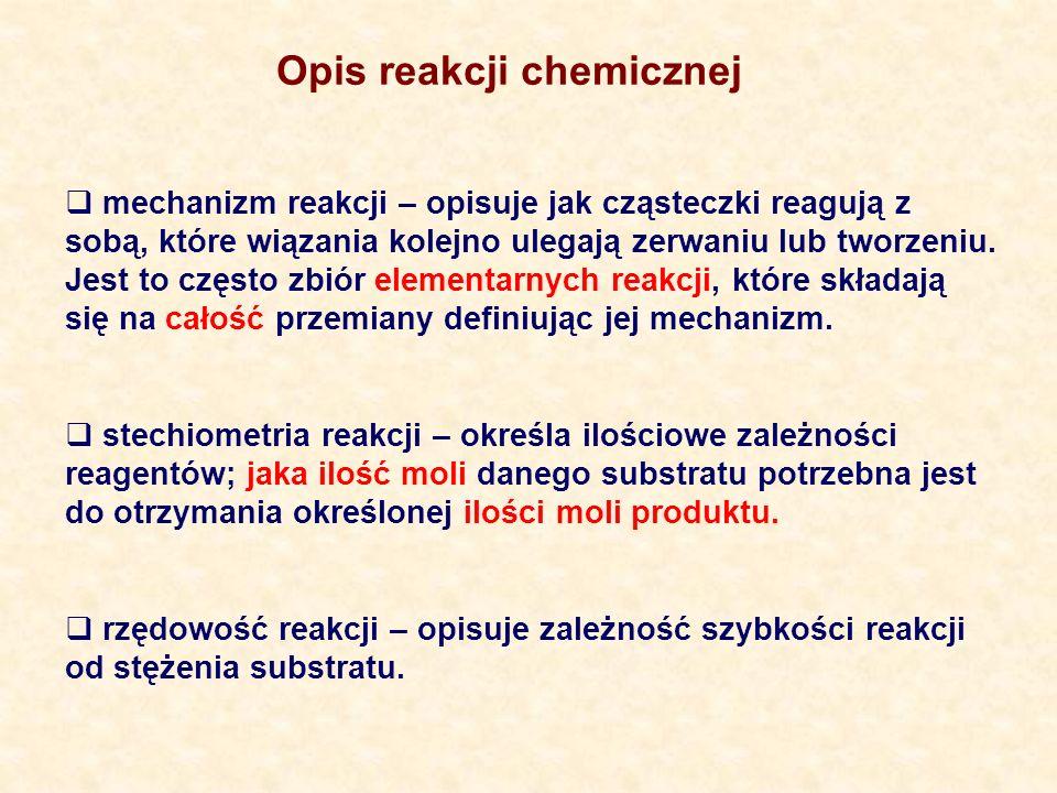 mechanizm reakcji – opisuje jak cząsteczki reagują z sobą, które wiązania kolejno ulegają zerwaniu lub tworzeniu.