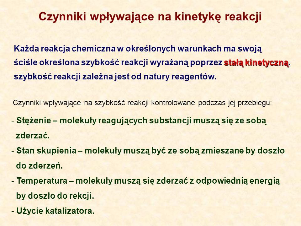 Czynniki wpływające na kinetykę reakcji Każda reakcja chemiczna w określonych warunkach ma swoją stałą kinetyczną ściśle określona szybkość reakcji wyrażaną poprzez stałą kinetyczną.