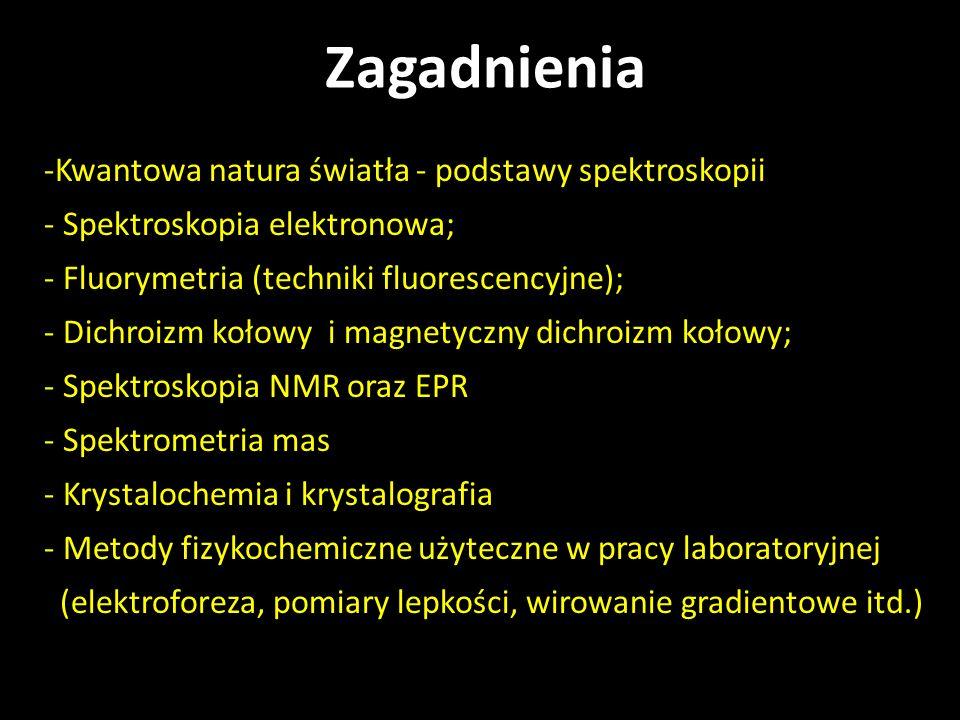 -Kwantowa natura światła - podstawy spektroskopii - Spektroskopia elektronowa; - Fluorymetria (techniki fluorescencyjne); - Dichroizm kołowy i magnety