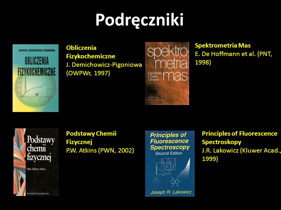 Obliczenia Fizykochemiczne J. Demichowicz-Pigoniowa (OWPWr, 1997) Principles of Fluorescence Spectroskopy J.R. Lakowicz (Kluwer Acad., 1999) Spektrome