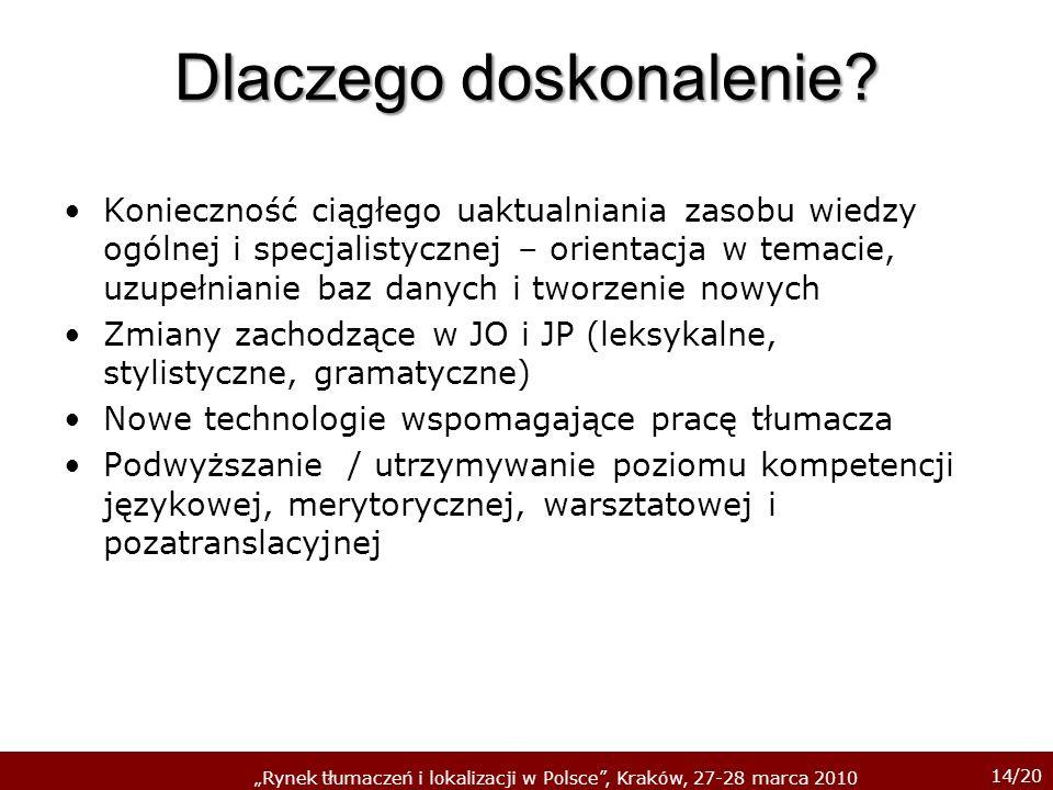 14/20 Rynek tłumaczeń i lokalizacji w Polsce, Kraków, 27-28 marca 2010 Dlaczego doskonalenie? Konieczność ciągłego uaktualniania zasobu wiedzy ogólnej