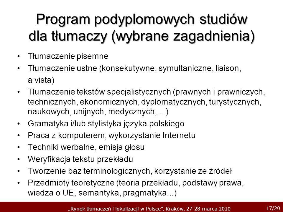 17/20 Rynek tłumaczeń i lokalizacji w Polsce, Kraków, 27-28 marca 2010 Program podyplomowych studiów dla tłumaczy (wybrane zagadnienia) Tłumaczenie pi