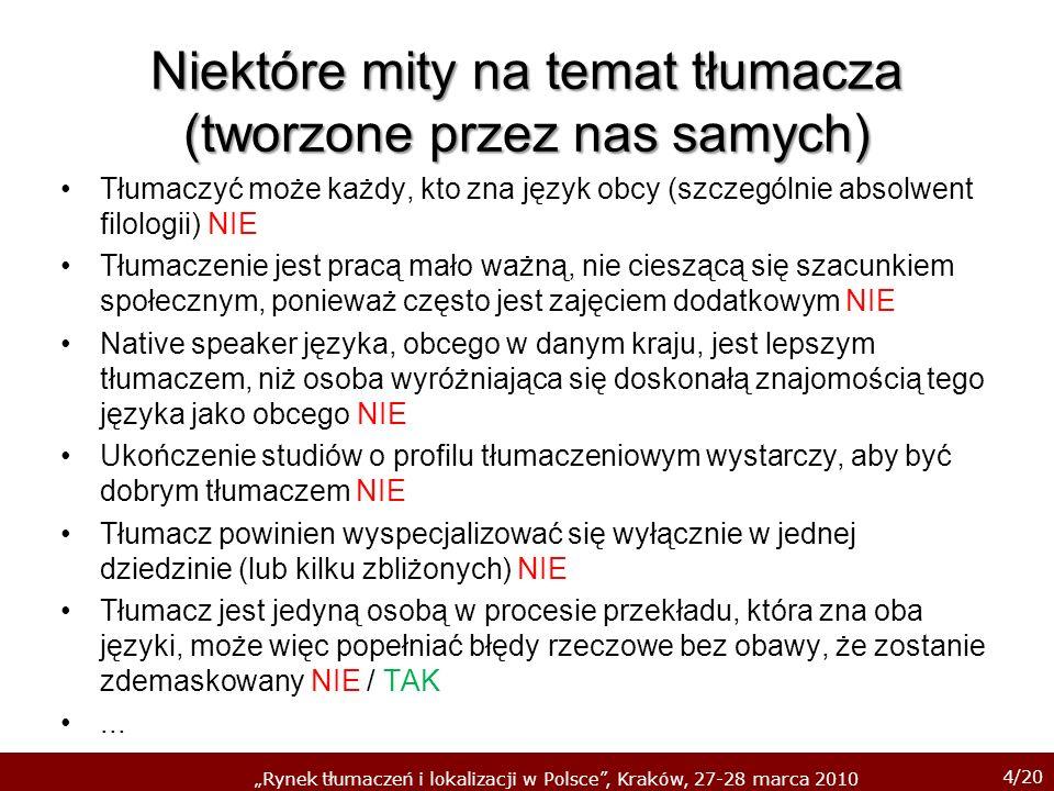 4/20 Rynek tłumaczeń i lokalizacji w Polsce, Kraków, 27-28 marca 2010 Niektóre mity na temat tłumacza (tworzone przez nas samych) Tłumaczyć może każdy