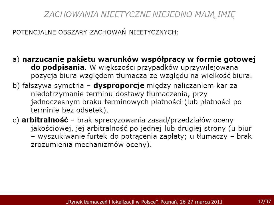 17/37 Rynek tłumaczeń i lokalizacji w Polsce, Poznań, 26-27 marca 2011 ZACHOWANIA NIEETYCZNE NIEJEDNO MAJĄ IMIĘ POTENCJALNE OBSZARY ZACHOWAŃ NIEETYCZN