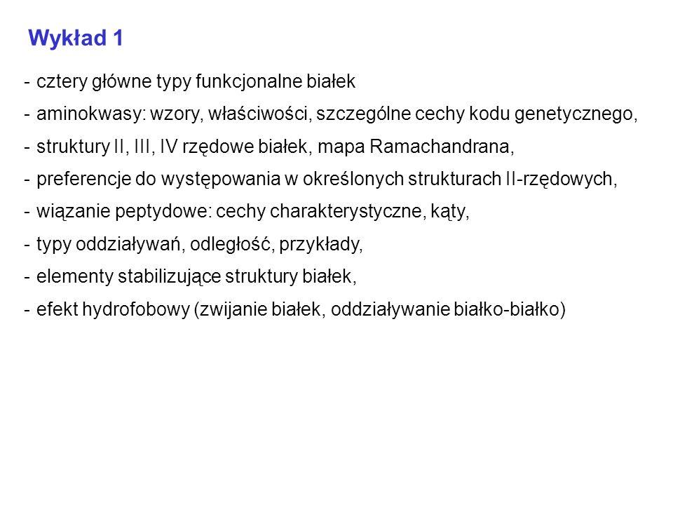 Wykład 1 - cztery główne typy funkcjonalne białek - aminokwasy: wzory, właściwości, szczególne cechy kodu genetycznego, - struktury II, III, IV rzędow