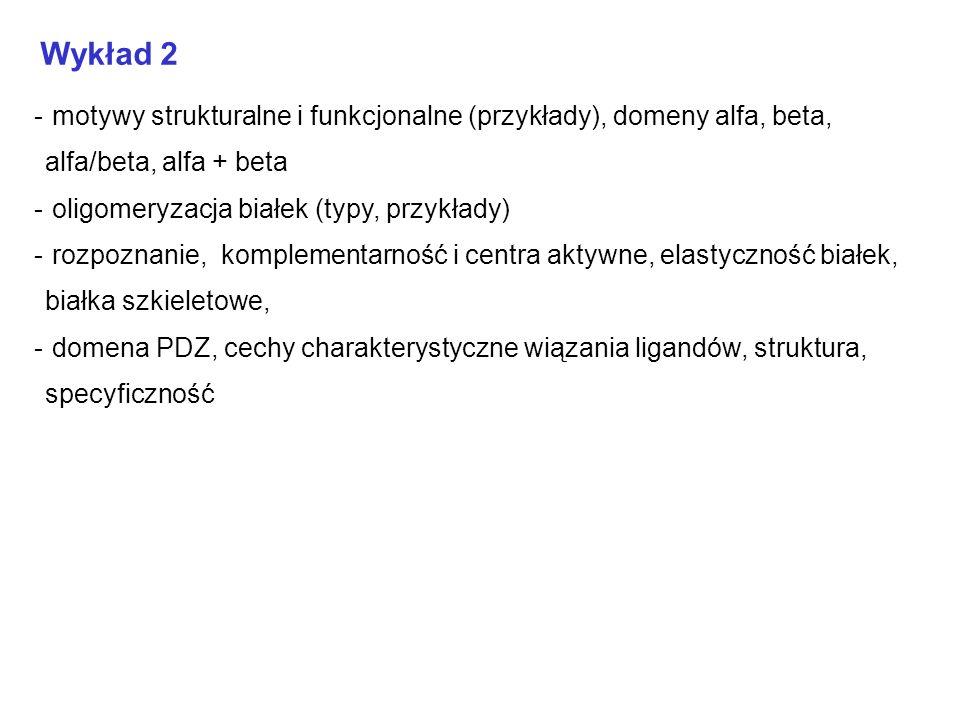 Wykład 2 - motywy strukturalne i funkcjonalne (przykłady), domeny alfa, beta, alfa/beta, alfa + beta - oligomeryzacja białek (typy, przykłady) - rozpo
