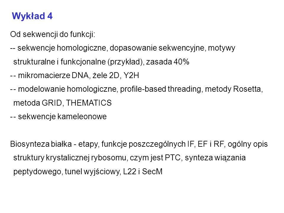 Wykład 4 Od sekwencji do funkcji: -- sekwencje homologiczne, dopasowanie sekwencyjne, motywy strukturalne i funkcjonalne (przykład), zasada 40% -- mik