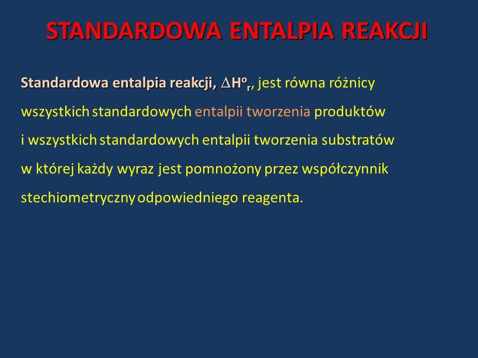 STANDARDOWA ENTALPIA REAKCJI Standardowa entalpia reakcji, H o r Standardowa entalpia reakcji, H o r, jest równa różnicy wszystkich standardowych enta