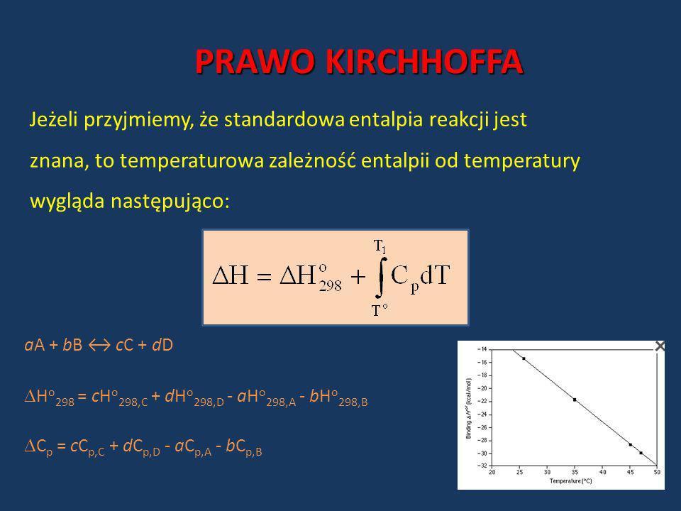 PRAWO KIRCHHOFFA Jeżeli przyjmiemy, że standardowa entalpia reakcji jest znana, to temperaturowa zależność entalpii od temperatury wygląda następująco