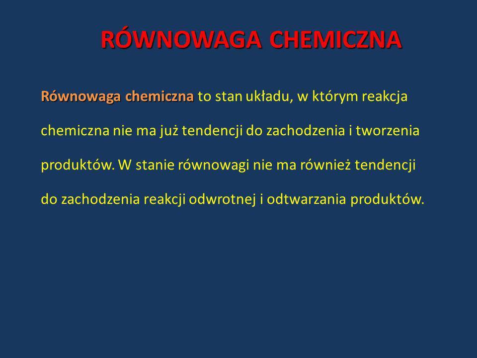 RÓWNOWAGA CHEMICZNA Równowaga chemiczna Równowaga chemiczna to stan układu, w którym reakcja chemiczna nie ma już tendencji do zachodzenia i tworzenia