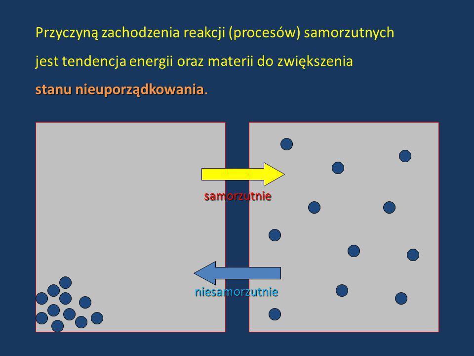 Przyczyną zachodzenia reakcji (procesów) samorzutnych jest tendencja energii oraz materii do zwiększenia stanu nieuporządkowania stanu nieuporządkowan