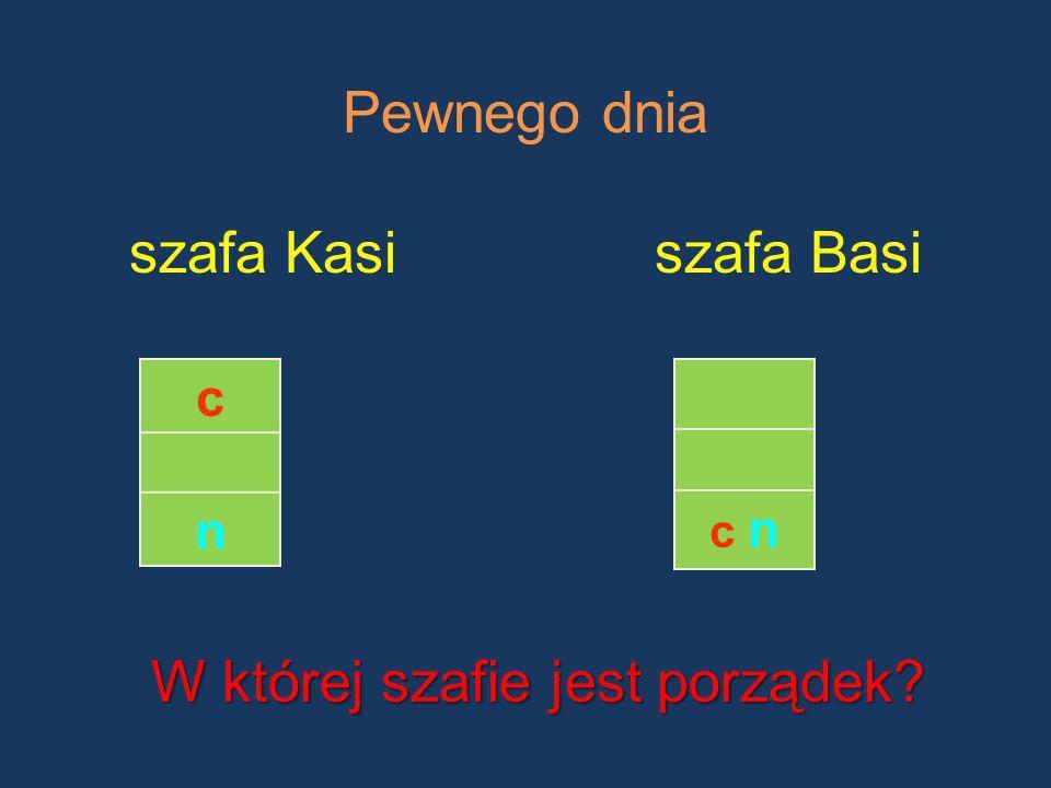 Pewnego dnia szafa Kasiszafa Basi c n c nc n W której szafie jest porządek?