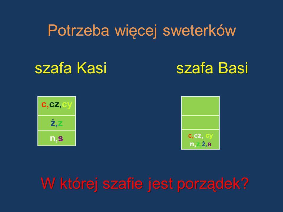 Potrzeba więcej sweterków szafa Kasiszafa Basi c,cz,cy ż,z n,s c,cz, cy n,z,ż,s W której szafie jest porządek?