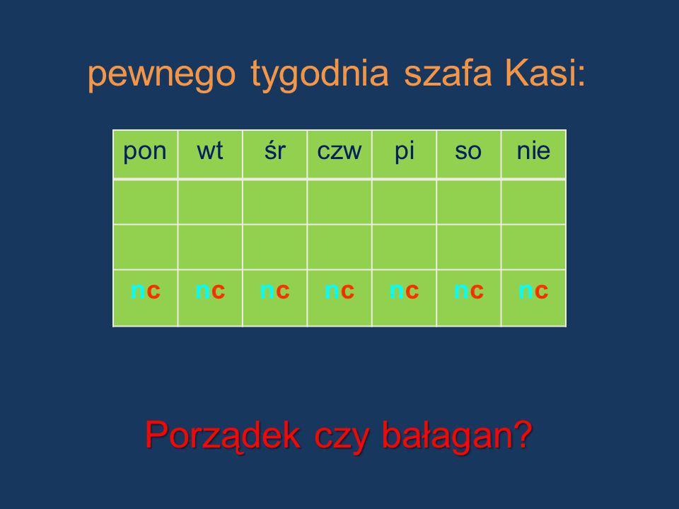 pewnego tygodnia szafa Kasi: Porządek czy bałagan? ponwtśrczwpisonie ncncncncncncncncncncncncncnc
