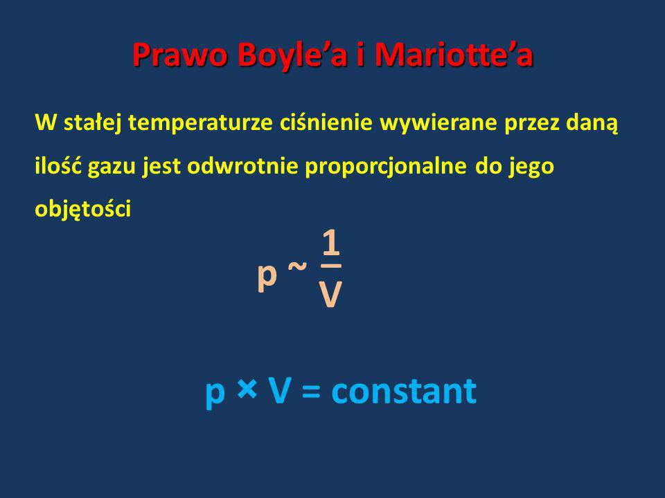 Prawo Boylea i Mariottea W stałej temperaturze ciśnienie wywierane przez daną ilość gazu jest odwrotnie proporcjonalne do jego objętości p ~ p × V = c
