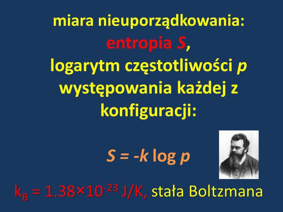 miara nieuporządkowania: entropia S, logarytm częstotliwości p występowania każdej z konfiguracji: S = -k log p k B = 1.38×10 -23 J/K, stała Boltzmana