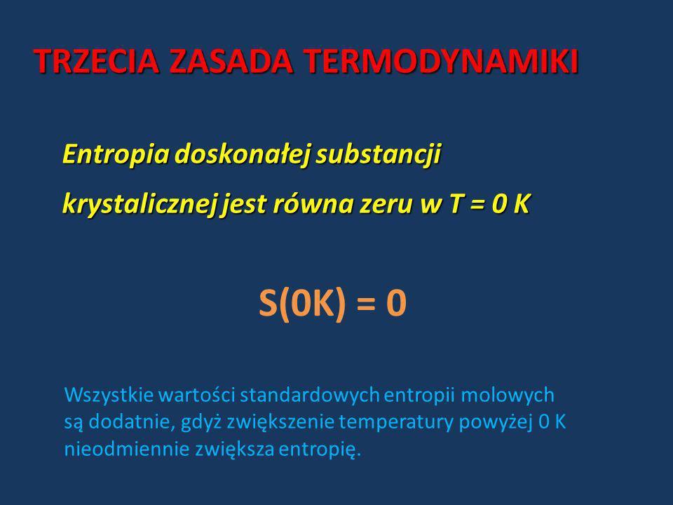 TRZECIA ZASADA TERMODYNAMIKI Entropia doskonałej substancji krystalicznej jest równa zeru w T = 0 K S(0K) = 0 Wszystkie wartości standardowych entropi