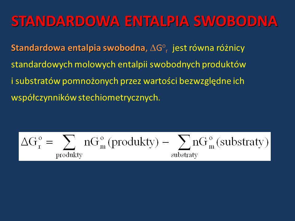 STANDARDOWA ENTALPIA SWOBODNA Standardowa entalpia swobodna Standardowa entalpia swobodna, G o r jest równa różnicy standardowych molowych entalpii sw