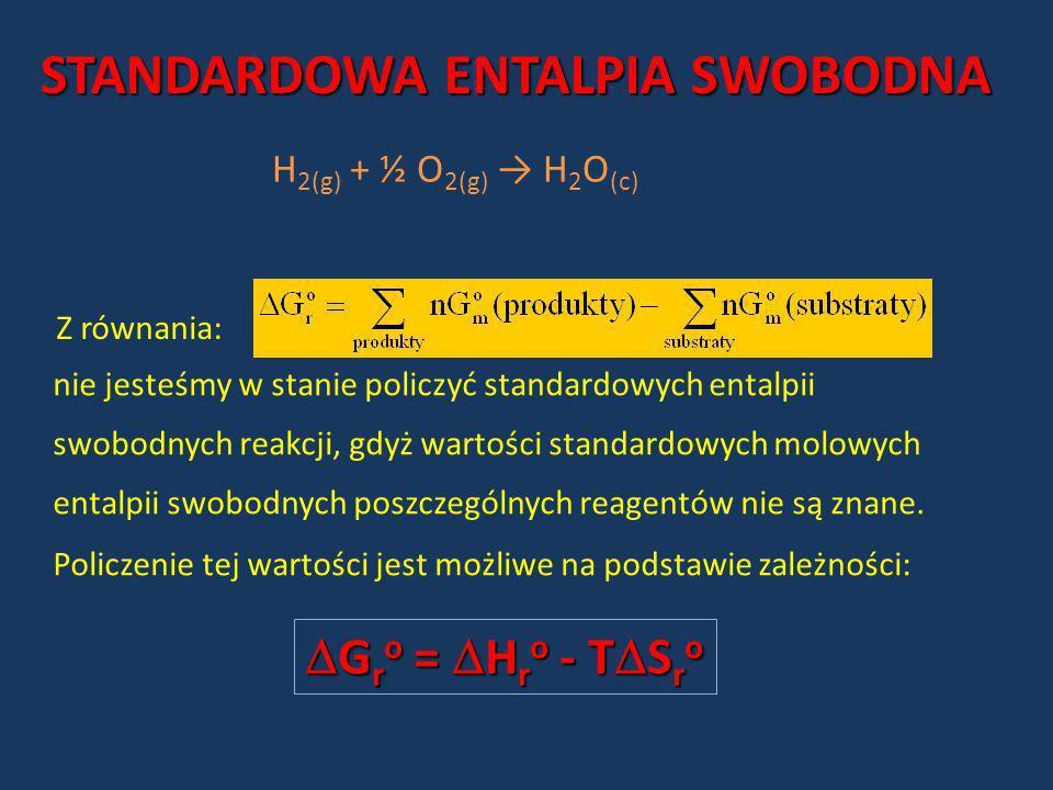 H 2(g) + ½ O 2(g) H 2 O (c) Z równania: nie jesteśmy w stanie policzyć standardowych entalpii swobodnych reakcji, gdyż wartości standardowych molowych