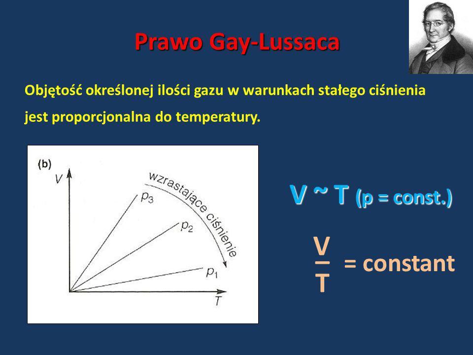 Prawo Gay-Lussaca Objętość określonej ilości gazu w warunkach stałego ciśnienia jest proporcjonalna do temperatury. V ~ T (p = const.) = constant V T