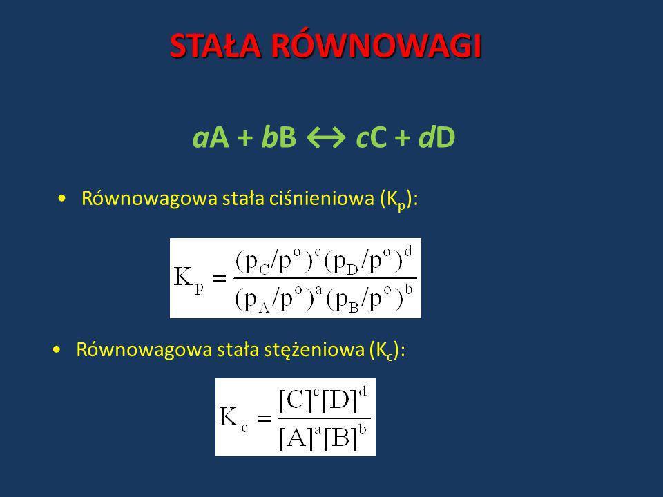 Równowagowa stała ciśnieniowa (K p ): aA + bB cC + dD STAŁA RÓWNOWAGI Równowagowa stała stężeniowa (K c ):
