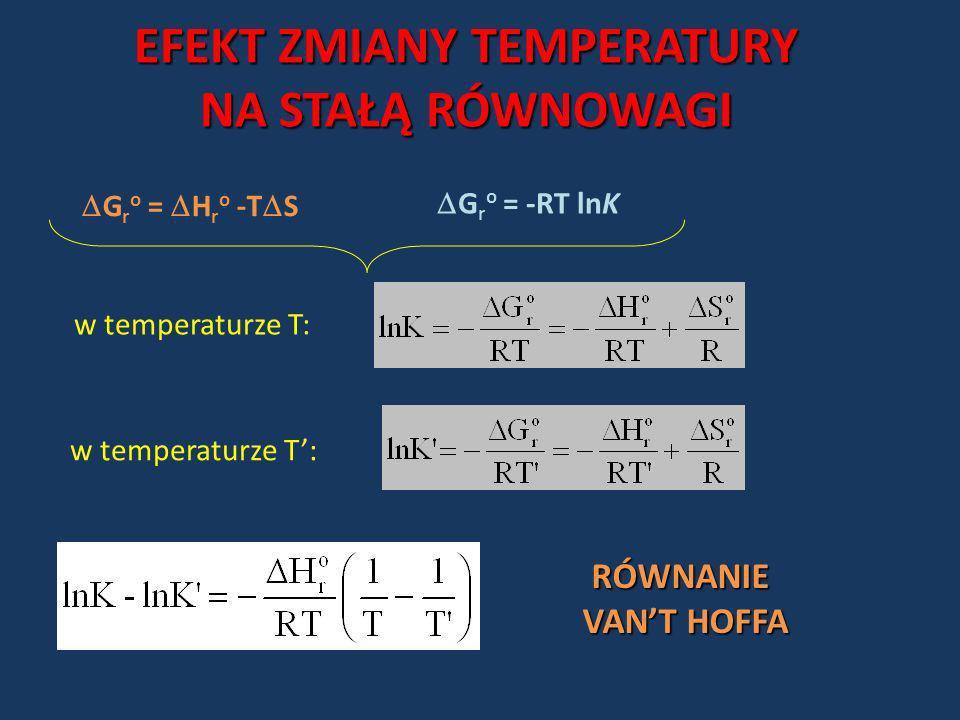 EFEKT ZMIANY TEMPERATURY NA STAŁĄ RÓWNOWAGI G r o = -RT lnK G r o = H r o -T S w temperaturze T: RÓWNANIE VANT HOFFA