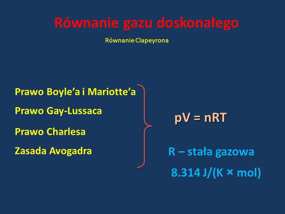 Równanie gazu doskonałego Równanie Clapeyrona Prawo Gay-Lussaca Zasada Avogadra Prawo Charlesa Prawo Boylea i Mariottea pV = nRT R – stała gazowa 8.31