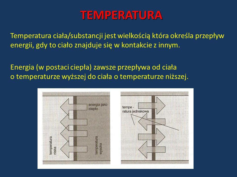 TEMPERATURA Temperatura ciała/substancji jest wielkością która określa przepływ energii, gdy to ciało znajduje się w kontakcie z innym. Energia (w pos