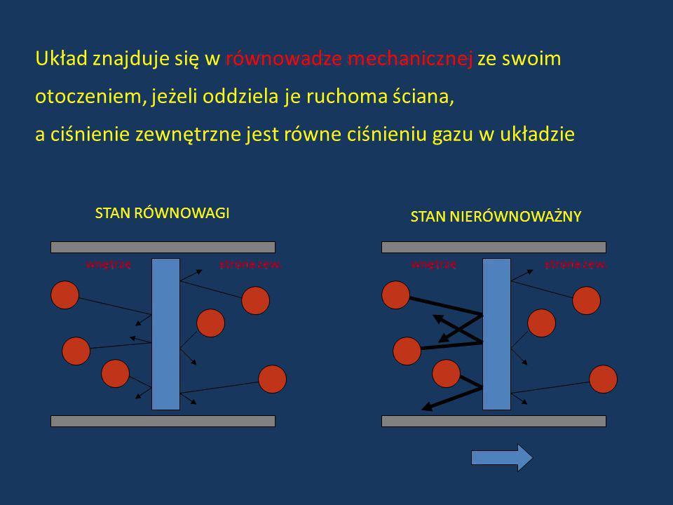 Układ znajduje się w równowadze mechanicznej ze swoim otoczeniem, jeżeli oddziela je ruchoma ściana, a ciśnienie zewnętrzne jest równe ciśnieniu gazu
