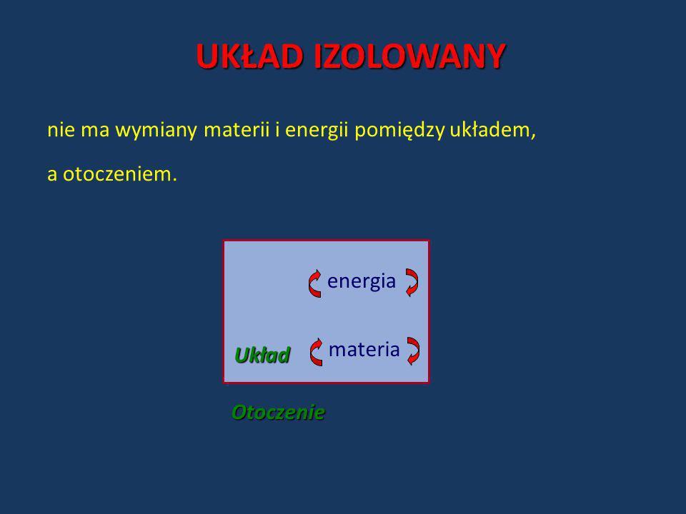 Otoczenie Układ materia energia UKŁAD IZOLOWANY nie ma wymiany materii i energii pomiędzy układem, a otoczeniem.