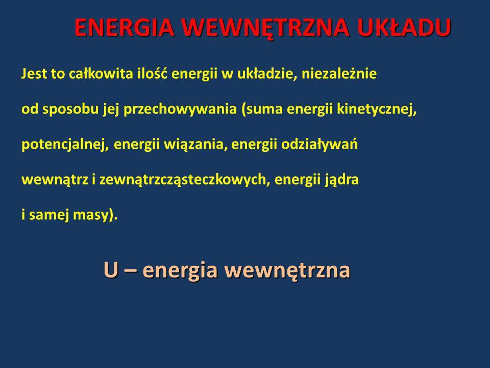 ENERGIA WEWNĘTRZNA UKŁADU Jest to całkowita ilość energii w układzie, niezależnie od sposobu jej przechowywania (suma energii kinetycznej, potencjalne