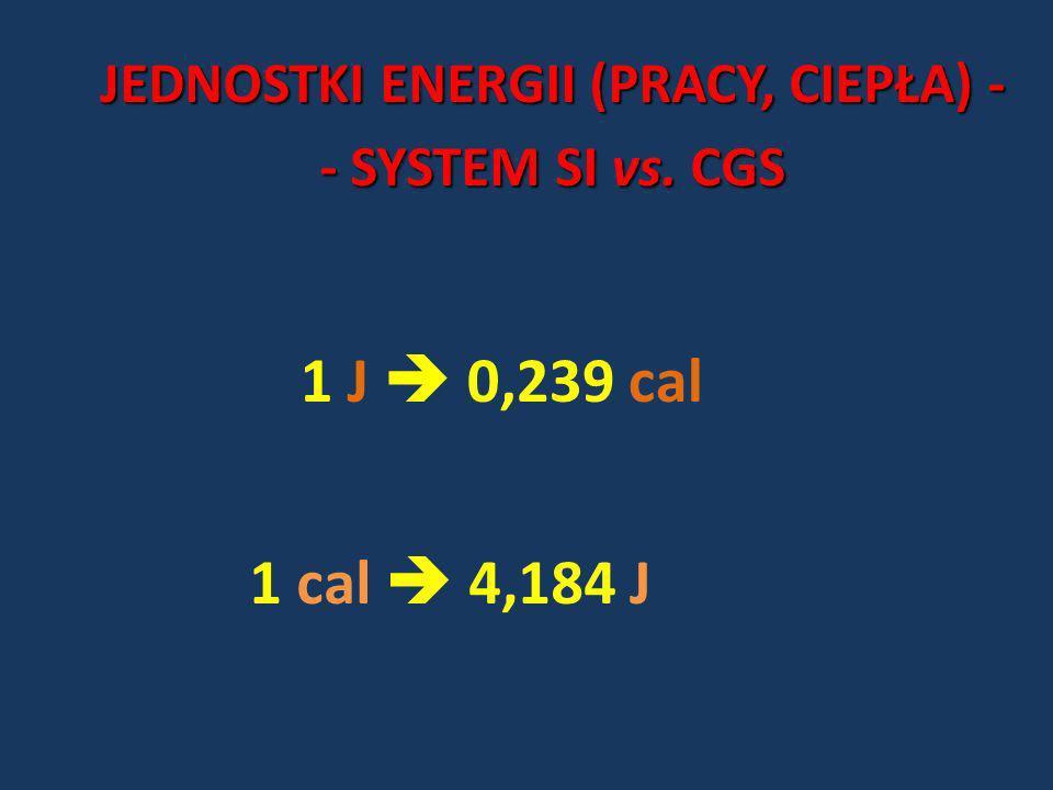 1 J 0,239 cal 1 cal 4,184 J JEDNOSTKI ENERGII (PRACY, CIEPŁA) - - SYSTEM SI vs. CGS
