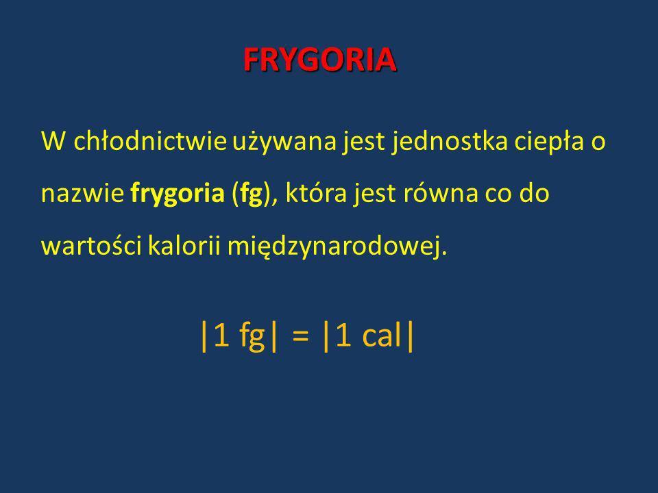 FRYGORIA W chłodnictwie używana jest jednostka ciepła o nazwie frygoria (fg), która jest równa co do wartości kalorii międzynarodowej. |1 fg| = |1 cal
