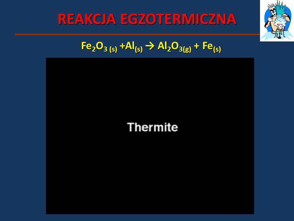 REAKCJA EGZOTERMICZNA Fe 2 O 3 (s) +Al (s) Al 2 O 3(g) + Fe (s)