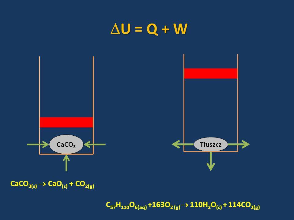 CaCO 3 Tłuszcz CaCO 3(s) CaO (s) + CO 2(g) C 57 H 110 O 6(aq) +163O 2 (g) 110H 2 O (c) + 114CO 2(g) U = Q + W U = Q + W