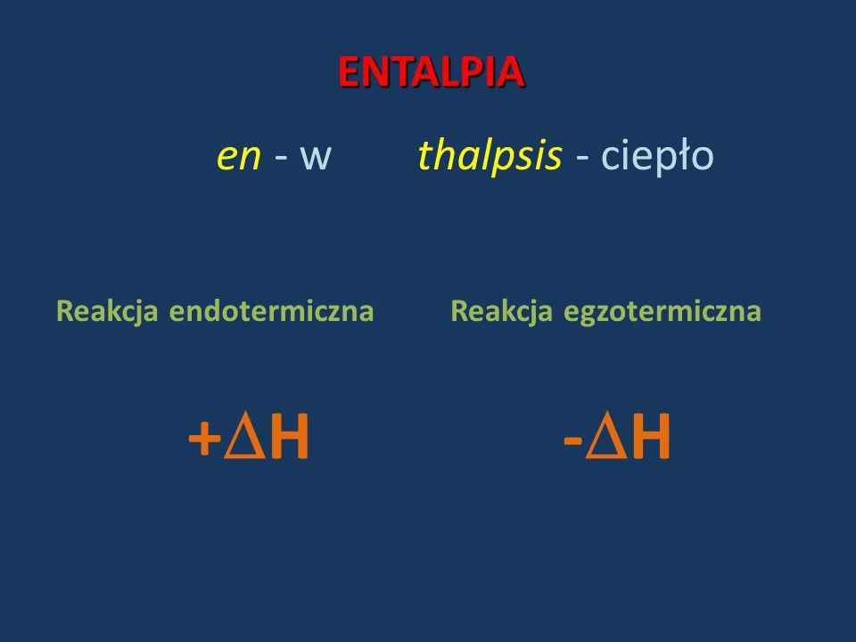 ENTALPIA en - wthalpsis - ciepło Reakcja endotermicznaReakcja egzotermiczna + H- H