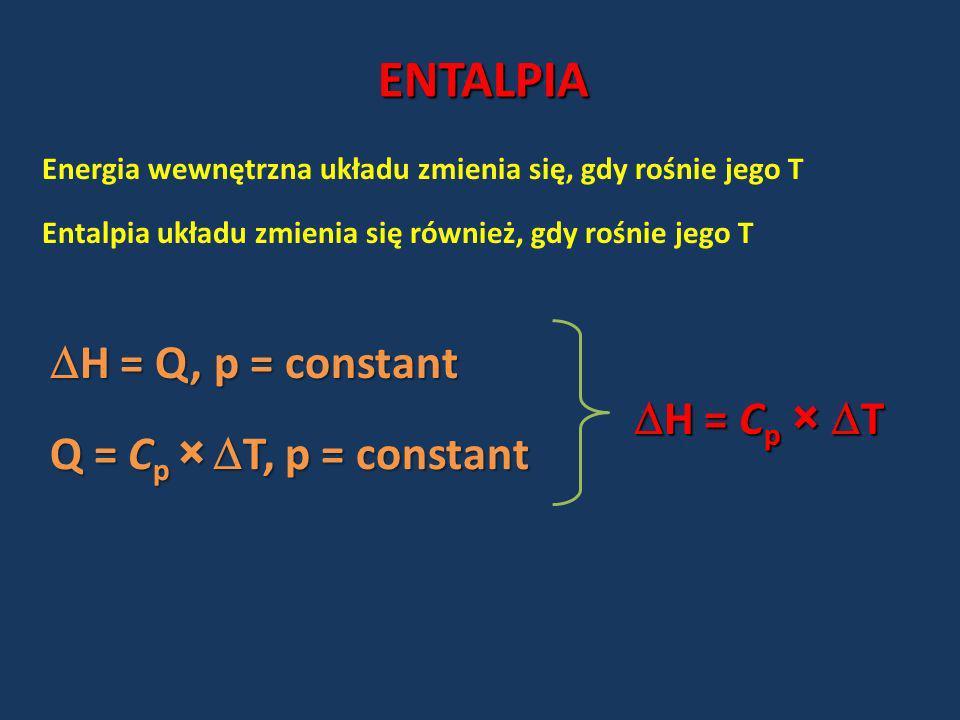 ENTALPIA Energia wewnętrzna układu zmienia się, gdy rośnie jego T Entalpia układu zmienia się również, gdy rośnie jego T H = Q, p = constant H = Q, p