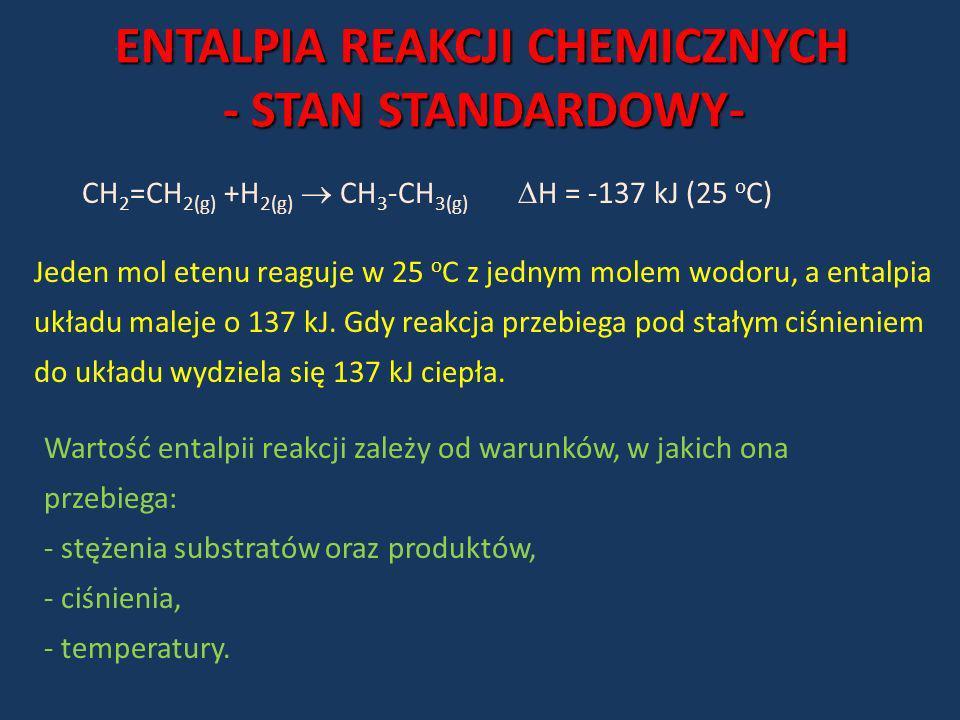 ENTALPIA REAKCJI CHEMICZNYCH - STAN STANDARDOWY- - STAN STANDARDOWY- CH 2 =CH 2(g) +H 2(g) CH 3 -CH 3(g) H = -137 kJ (25 o C) Jeden mol etenu reaguje