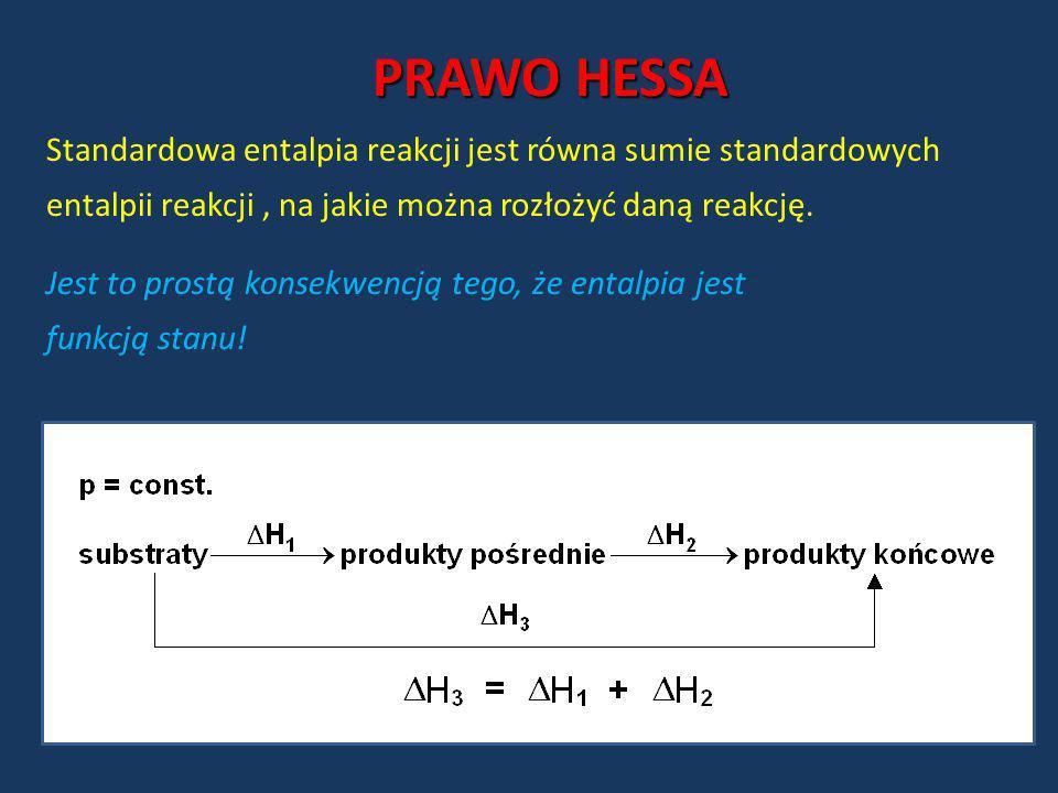 PRAWO HESSA Standardowa entalpia reakcji jest równa sumie standardowych entalpii reakcji, na jakie można rozłożyć daną reakcję. Jest to prostą konsekw